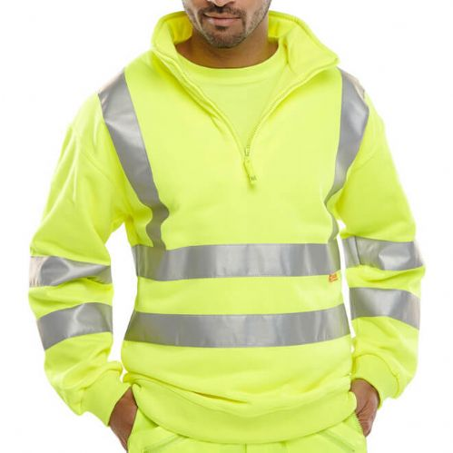 BSeen Hi Vis Yellow Quarter Zip Sweatshirt